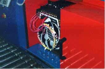 Motor stator test machine  Windings are manually connected and then a range of electrical performance tests are conducted.