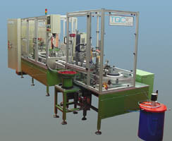 pallet transfer system for automatic assembly of metal parts