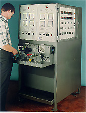 DC Wiper motor test machine.  Motor performance is measured over a range of torque loadings.
